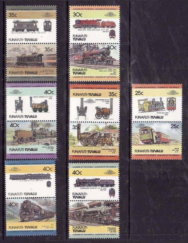 Tuvalu-Funafuti-Sc#8-14- id5-unused NH Trains-Locomotives-1984-6-