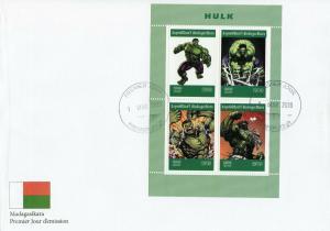 Madagascar 2019 FDC Incredible Hulk 4v MS Cover Marvel Comics Superheroes Stamps