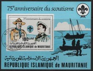 MAURITANIA, 499, SOUVENIR SHEET USED, 1982, Baden-Powell Scout