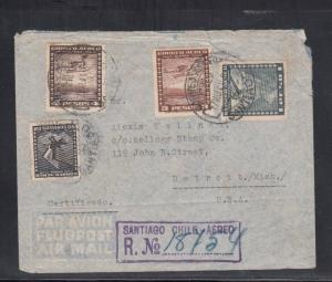 Air Mail Registered Cover Chile to USA 1941 via US Postal Agency Cali Colombia