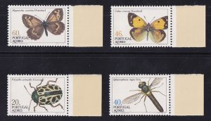 Portugal Azores  #349-352  MNH 1985  insects   moth  beetle butterfly