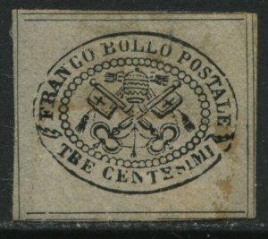 Italy Roman States 1867 3 centemisi black on gray glazed paper mint o.g. hinged