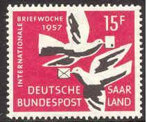 Saar # 288 Letter Writing - Birds  (1) Mint NH