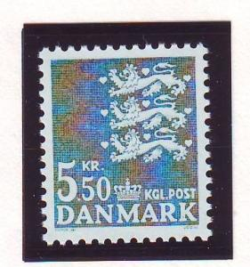 Denmark Sc 717 1984 5.5 kr dark blue green 3 lions stamp mint NH