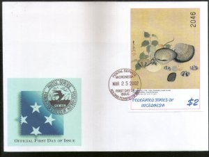 Micronesia 2002 Japanese Paintings Sea Shell Plum Art Sc 490 M/s FDC # 9362