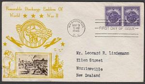 USA 1946 CROSBY photo FDC to New Zealand - Discharge of WW2 Emblem.........55347