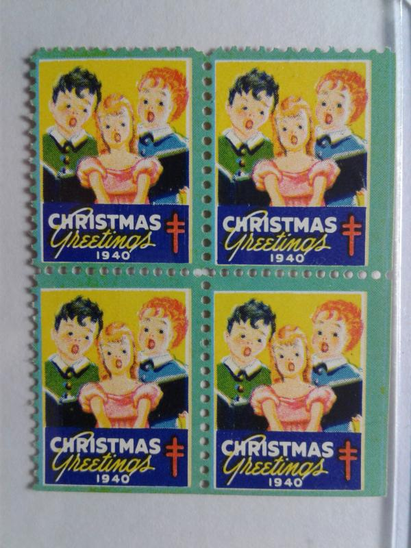 1940 CHRISTMAS SEALS BLOCK OF 4 MINT NEVER HINGED GEMS !! GREAT FIND !!