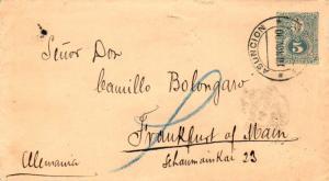 Paraguay 5c Seal of The Treasury Envelope 1890 Asuncion, Paraguay to Frankfur...