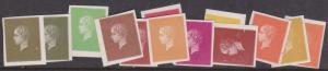 Ephemera 19th Century Printer's Samples. Lot of 13 Imperf Essays F-VF-H