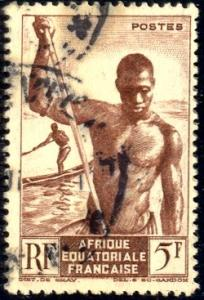 Fisherman, Niger Boatman, Africa Equatorial Francaise SC#179 used