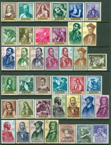 SPAIN : Nice grouping of all Very Fine, Mint NH Complete sets except 2nd set LH.