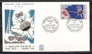 Mauritania, Scott cat. C46. FR1 Satellite & Rocket issue. First day cover.