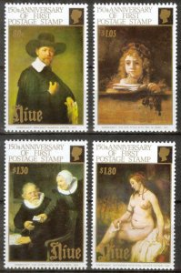 Niue 1990 Art Paintings Anniv. of First Stamp set of 4 MNH