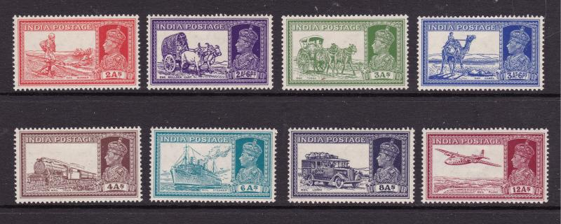 India the KGVI 2A to 12A from 1937 set MH