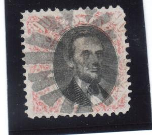USA #122 Very Fine Used With Starburst Cancel