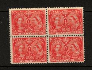 Canada #59 #59i Mint Fine Full Original Gum UR Reentry Block *With Certificate*