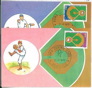 SPORT : BASEBALL - 2 MAXIMUM CARDS: ITALY 1973