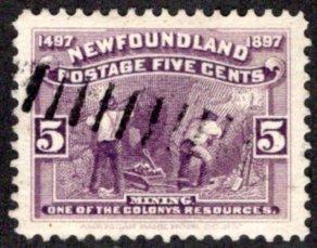 56, NSSC, Newfoundland, Canada, 5c, VF, Used, Discovery of Newfoundland, Mining