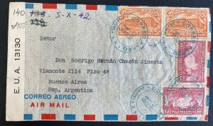 1942 Alajuela Costa Rica Airmail Censored Cover To Buenos Aires Argentina