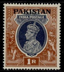 PAKISTAN GVI SG14, 1r grey & red-brown, M MINT.