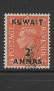KUWAIT #75  1948  2a on 2p  KING GEORGE VI SURCHARGED   F-VF  USED  a