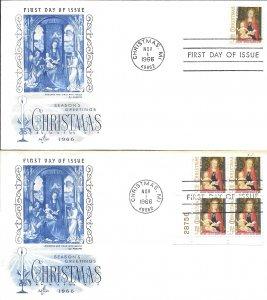 #1321, 5c Christmas, Art Craft cachet, single/plate block of 4