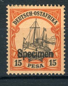 SPECIMEN Overprint on German East Africa 15 Pesa Yacht, MLH