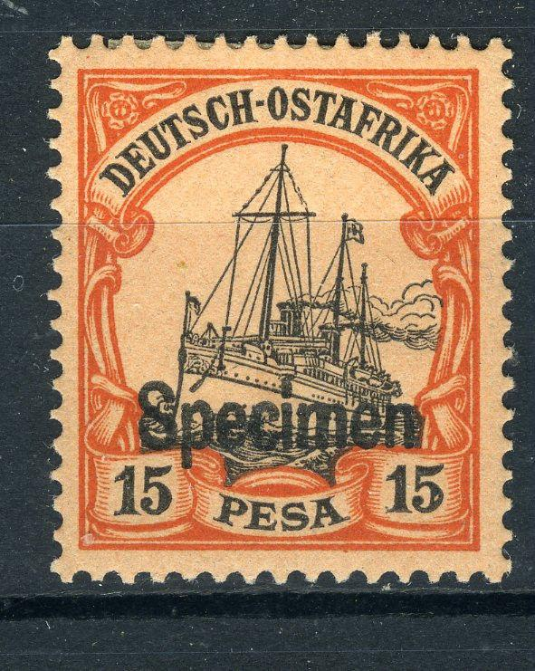 SPECIMEN Overprint on German East Africa 15 Pesa Yacht, MLH