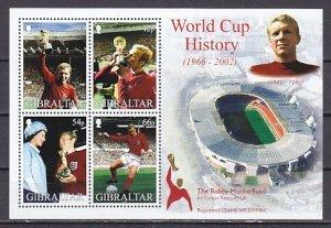 Gibraltar, Scott cat. 908a. World Cup Soccer History s/sheet. ^