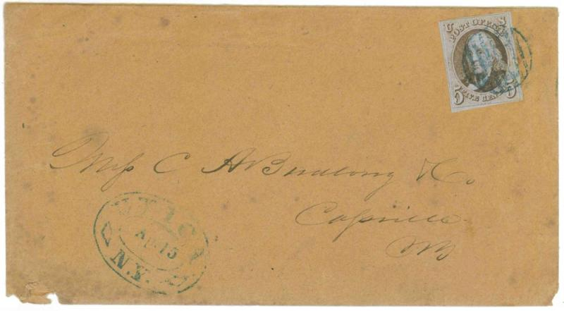 1847 issue Scott 1 tied Utica to Cassville, New York 1851 Cover, CONTENT