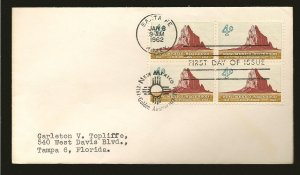 USA 1191 New Mexico Statehood 1962 Block of 4 First Day Cover