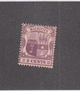 MAURITIUS (MK2092) # 129 F-MNGH  2cts COAT OF ARMS /DULL LILAC & VIOLET CV $34