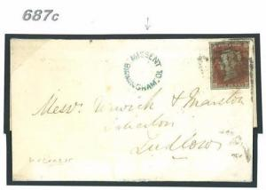 687c GB Cover 1850 Birmingham MISSENT Penny Red Salop Ludlow {samwells-covers}