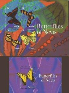 Nevis - 2007 Butterflies of Nevis - 4 Stamp Sheet + Souvenir Sheet #1513-4