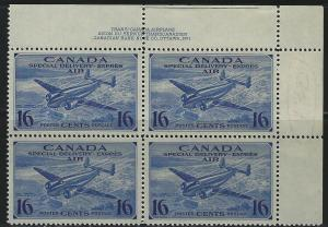 CANADA - #CE1 - 16c SPECIAL DELIVERY UR PLATE #1 MINT BLOCK (1942) MNH