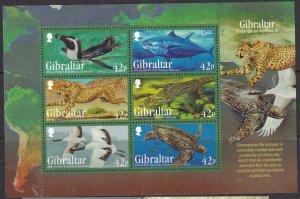 Gibraltar MNH S/S 1410a Endangered Animals 2013