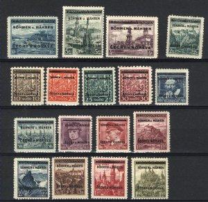 Czechoslovakia - Bohemia & Moravia 2-9,11-19   M NH VF 1939  PD