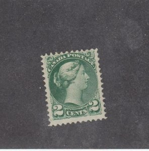 CANADA (MK4258) # 36  FVF-MNG  2cts 1872 QV SMALL QUEEN /GREEN CAT VALUE $80