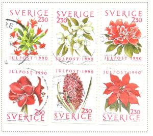 Sweden Sc 1855-0 1990 Christmas Flowers stamp set used