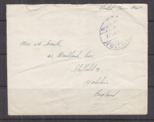 ADEN, No.11 RAF, POSTAL HQ cds., 1946 British Forces Mail cover to GB..