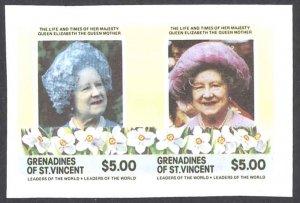 St. Vincent Grenadines Sc# 500 (stamps) MNH IMPERF (ERROR) 1985 $5 Queen Mother