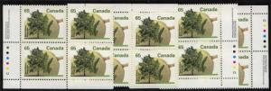 Canada USC #1367 Mint MS Imrint Blocks 1991 65c Black Walnut VF-NH