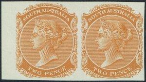 SOUTH AUSTRALIA 1868 QV 2D IMPERF PROOF PAIR MNH ** NO WMK