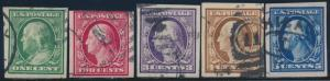 #343-347 IMPERF F-VF USED CV $94 BS589