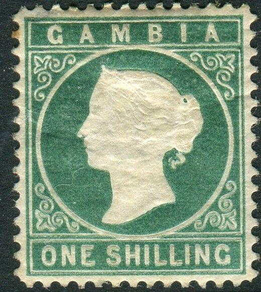 GAMBIA-1880-1 1/- Green SIDEWAYS WATERMARK average mounted mint example Sg 19a