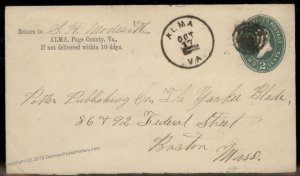 Virginia 1892 Alma VA DPO Cancel Helbock R5 Cover Luray Boston MA 92465