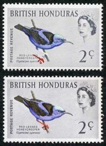 British Honduras SG203 1962 2c (legs) Bird Colour Shift U/M