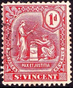 ST VINCENT 1909 KEDVII 1d Carmine SG99 Used