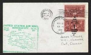 UNITED STATES First Flight 1948 Morehead City-Cincinnati