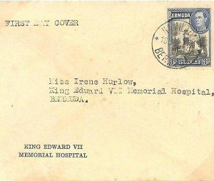BERMUDA KVI FDC *King Edward VII Memorial Hospital*First Day Cover 1941 WW2 U130